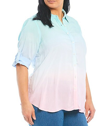 Intro Plus Size Ombre Tie Dye Roll-Tab Sleeve Button Down Shirt