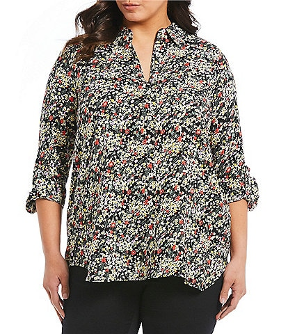 Intro Plus Size Roll-Tab Sleeve Printed 1-Pocket Button Front Tunic