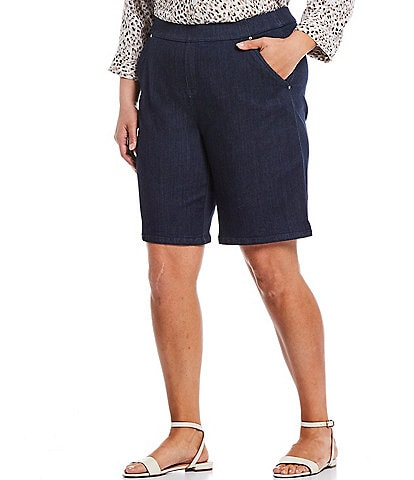 Intro Plus Size Rose Tummy Control Pull-On Stretch Denim Bermuda Shorts