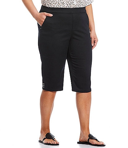 Intro Plus Size Rose Tummy Panel Pull-On Skimmer Short
