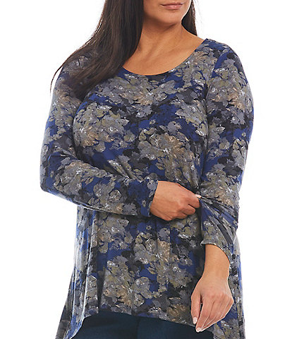 Intro Plus Size Jewel Neck Long Sleeve Pleat Back Detail High-Low Abstract Floral Swing Top