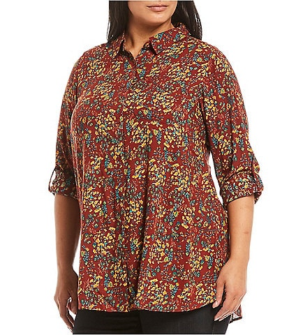 Intro Plus Size Russet Brown Floral Print Roll-Tab Sleeve Button Down Hi-Low Shirt
