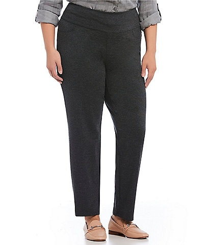 Intro Plus Size Solid Double Knit Tummy Control Heathered Straight Leg Pants