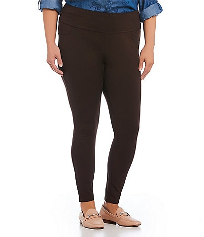 Intro Plus Size Solid Double Knit Tummy Control Leggings