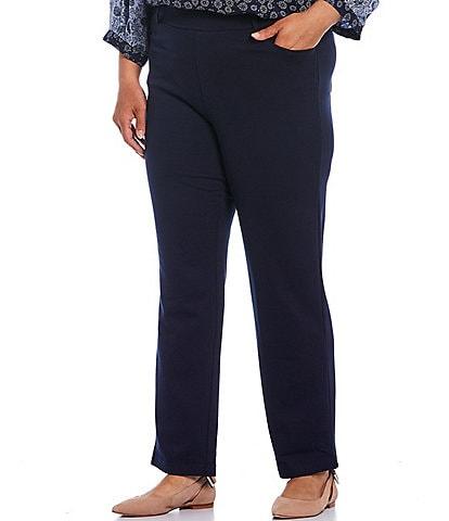Intro Plus Size Stella Double Knit Slim Straight Leg Pull-On Pants