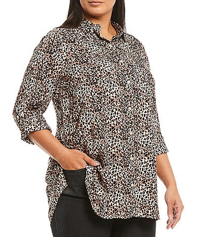 Intro Plus Size Taupe Animal Print Roll-Tab Sleeve Button Down Shirt
