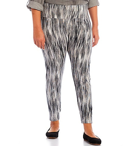 Intro Plus Size Teri Love the Fit Blurred Print Knit Pull-On Leggings