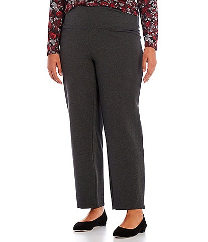 Intro Plus Size Teri Love the Fit Straight Leg Knit Pull-On Leggings