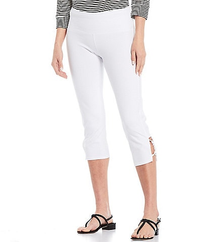 Intro Rivet Strap Braid Hem Detail Capri Leggings