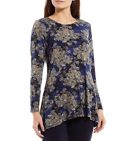 Intro Round Neck Long Sleeve Pleat Back Detail High-Low Abstract Floral Swing Top