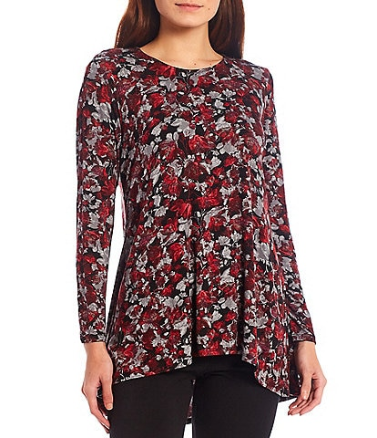 Intro Round Neck Long Sleeve Pleat Back Detail High-Low Ditsy Print Swing Top