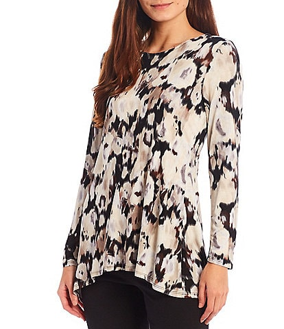 Intro Round Neck Long Sleeve Pleat Back Detail High-Low Watercolor Floral Swing Top
