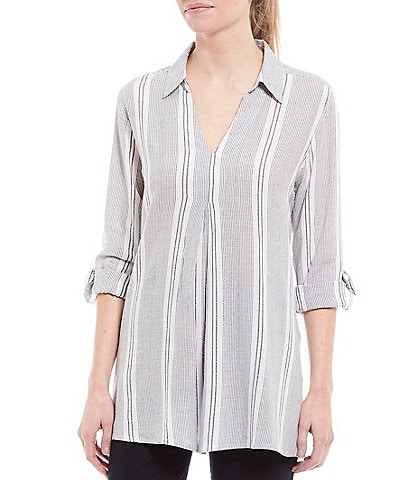 Intro Stripe Print Roll-Tab Sleeve Inverted Front Pleat Top