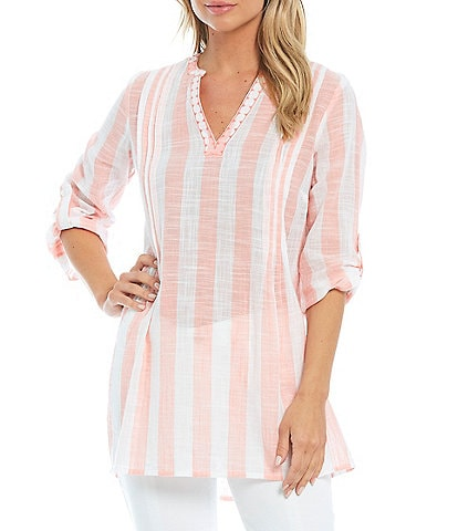 Intro Stripe Slub Roll-Tab Sleeve Tunic