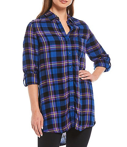 Intro Tencel Yarn Dye Plaid Print Roll-Tab Sleeve Button Down Hi-Low Shirt