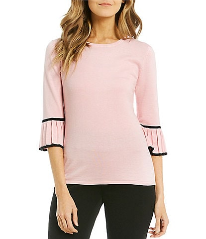 Investments 3/4 Pleated Sleeve Scoop Neck Top