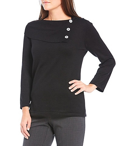 Investments 3/4 Sleeve Fold-Over Cowl Neck Collar Lightweight Sweater