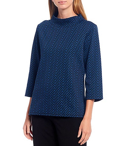 Investments 3/4 Sleeve Herringbone Mock Neck Top