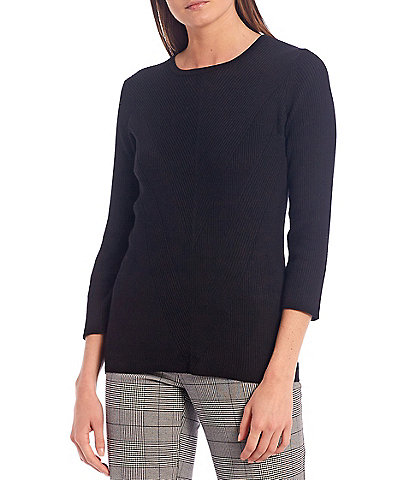 Investments 3/4 Sleeve Ribbed Crew Neck Sweater