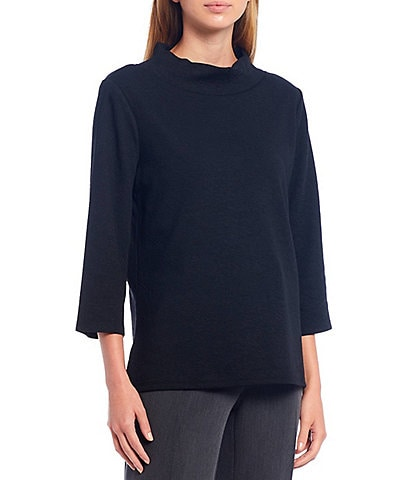 Investments 3/4 Sleeve Solid Mock Neck Top
