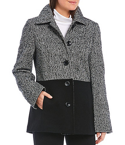 Investments Classic Blocked Novelty Wool Blend Barn Coat