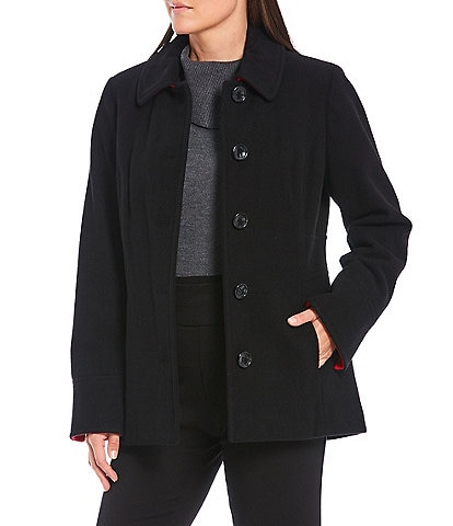 Investments Classic Wool Blend Contrast Cuff Barn Coat