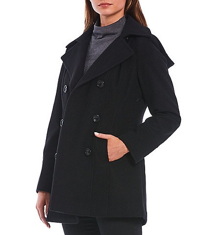 Investments Classic Wool Blend Double Breasted Removable Hood Peacoat