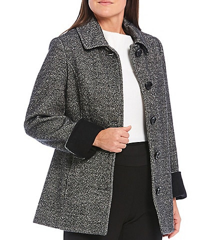 Investments Classic Wool Blend Tweed Barn Coat