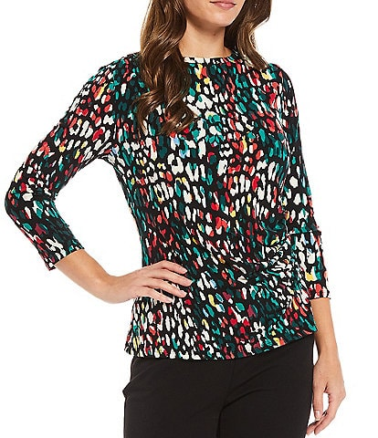 Investments Crew Neck 3/4 Sleeve Side Ruched Leopard Print Top
