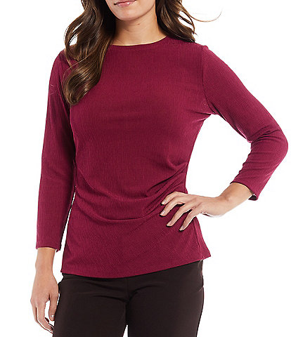 Investments Crew Neck 3/4 Sleeve Side Ruched Top