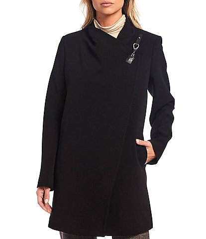 Investments Drape Front Long Sleeve Crepe Coat