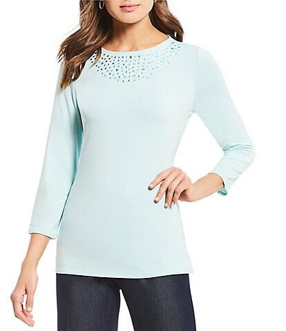 Investments Essentials 3/4 Sleeve Embellished Scoop Neck Top