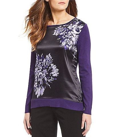 Investments Floral Print Long Sleeve Mix Media Sweater