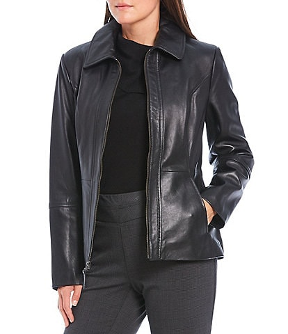 Investments Genuine Leather Shirt Collar Zip Front Jacket