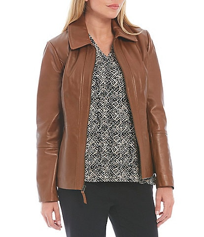 Investments Genuine Leather Point Collar Long Sleeve Zip Front Jacket