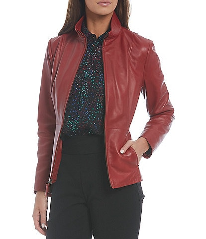 Investments Genuine Leather Stand Collar Long Sleeve Zip Front Jacket