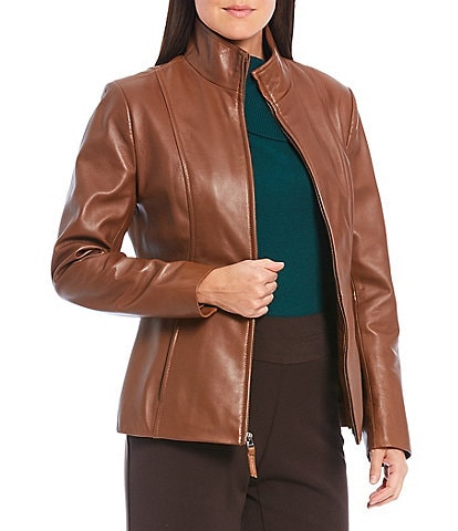 Investments Genuine Leather Stand Collar Zip Front Jacket