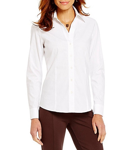 Investments Christine Gold Label Non-Iron Long Sleeve Button Front Collared Shirt