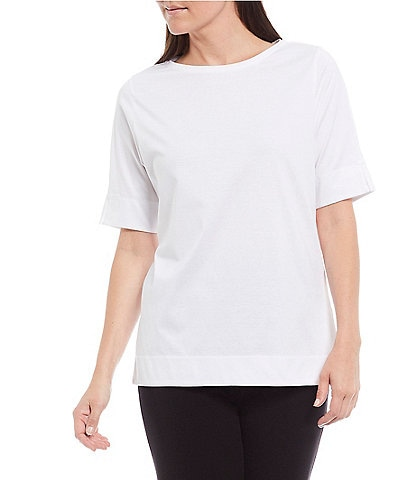 Investments Gold Label Short Sleeve Jewel Neck Non-Iron Top