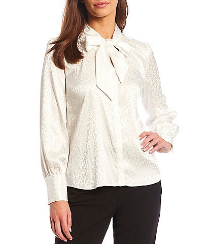 Investments Leopard Print Long Sleeve Tie Mock Neck Button Front Blouse