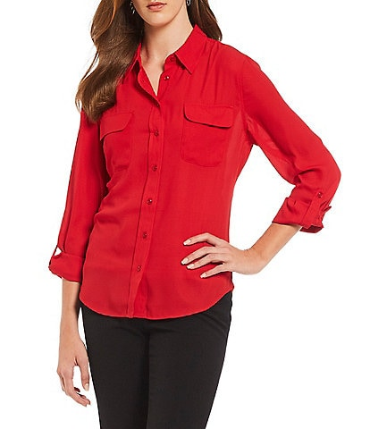 Investments Olivia Machine Washable Long Sleeve Button-Front Roll-Tab Utility Blouse