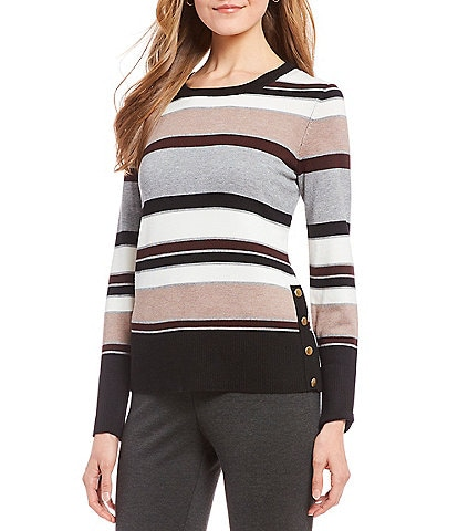 Investments Long Sleeve Stripe Crew Neck Sweater