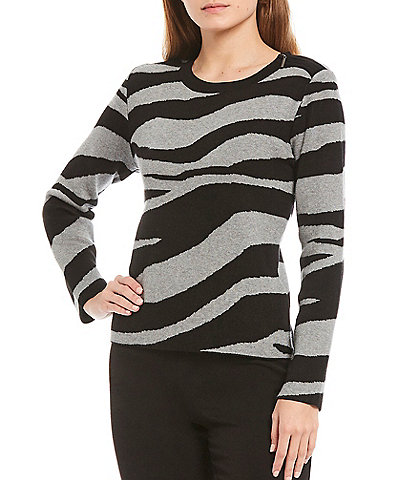 Investments Long Sleeve Zipper Neck Zebra Print Top