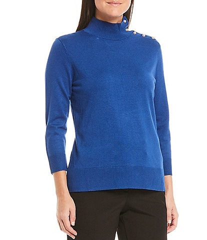 Investments Mock Neck 3/4 Sleeve Button Neck Top
