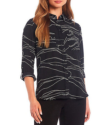 Investments Olivia Point Collar Long Sleeve Roll-Tab Button Front Black Marble Utility Blouse