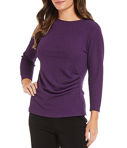 Investments Petite Size 3/4 Sleeve Side Crew Neck Ruched Knit Top