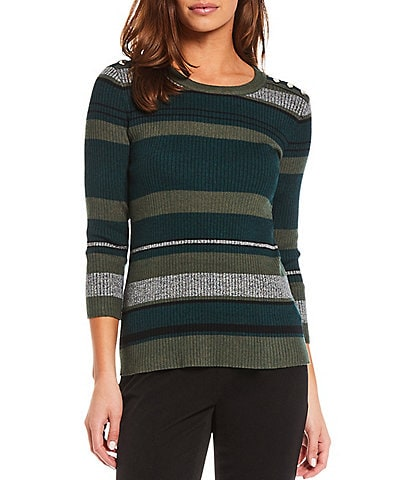Investments Petite Size Jewel Neck 3/4 Sleeve Stripe Ribbed Sweater