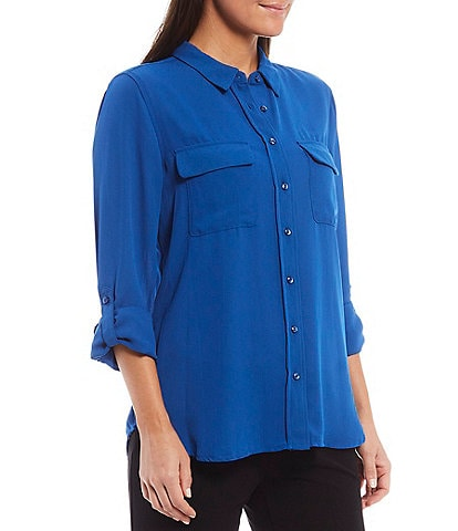 Investments Petite Olivia Long Sleeve Button Front Utility Blouse