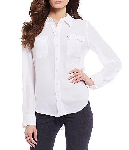 16f3bf32c6a Investments Petite Olivia Long Sleeve Button Front Utility Blouse