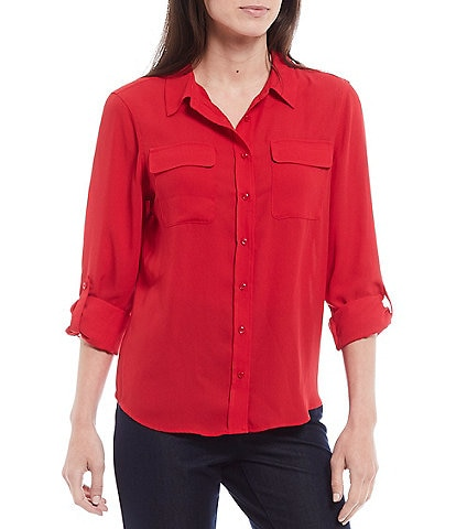 Investments Petite Size Olivia Long Sleeve Button Front Utility Blouse